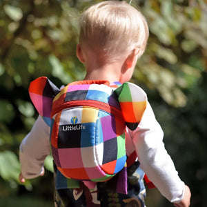 Elma Toddler Backpack with Rein, out and about, for disabled children.