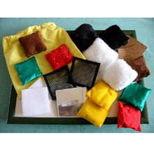 10 pairs of fabric squares with different textures, Feely Bag, motor and cognitive skills, for children with disabilities.