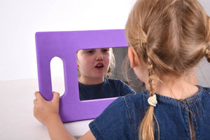 Hand-Held Foam Mirror, early development, for disabled children.