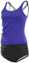 Load image into Gallery viewer, Kes-Vir Ladies Cross Back Tankini Swimsuit Top - Purple, Swimwear, for disabled adults.