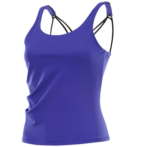 Kes-Vir Ladies Cross Back Tankini Swimsuit Top - Purple, Swimwear, for disabled adults.