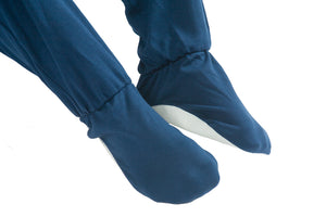 Integral feet shot of All-In-One Pyjamas in blue fleece , Protective clothing, for disabled children.