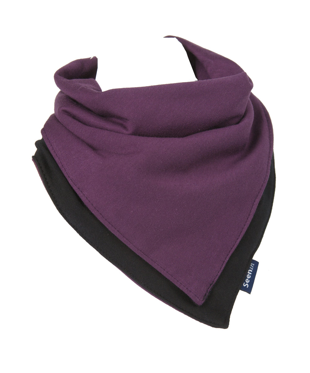 Black/Plum Flip Kerchief, Protective bib, for disabled children.