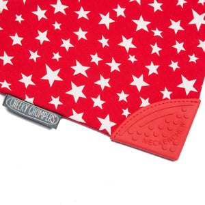 Cheeky Chompers Red Stars Neckerchew, Protective bib, for disabled children.
