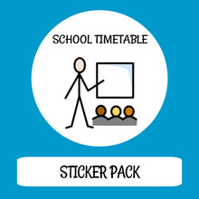 Load image into Gallery viewer, School Timetable Sticker pack for Tomtag collection, Learning Resource, for disabled children.
