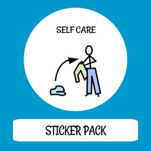 Load image into Gallery viewer, Self Care Sticker pack for Tomtag collection, Learning Resource, for disabled children.