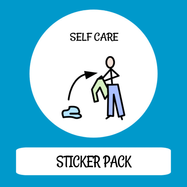 Self Care Sticker pack for Tomtag collection, Learning Resource, for disabled children.