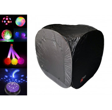 Pop up sensory dark den, images of light up toys on the left hand side, showing bright light rainbow colours and balls, for children with disabilities