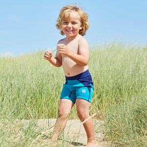 Splash Boys Incontinence Jammers Swim Shorts - Navy/Jade, swimwear, for disabled children.