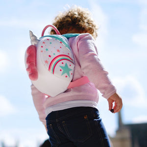 Unicorn Toddler Backpack with Rein, out and about, for disabled children.