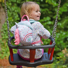 Load image into Gallery viewer,  Unicorn Toddler Backpack with Rein, out and about, for disabled children.