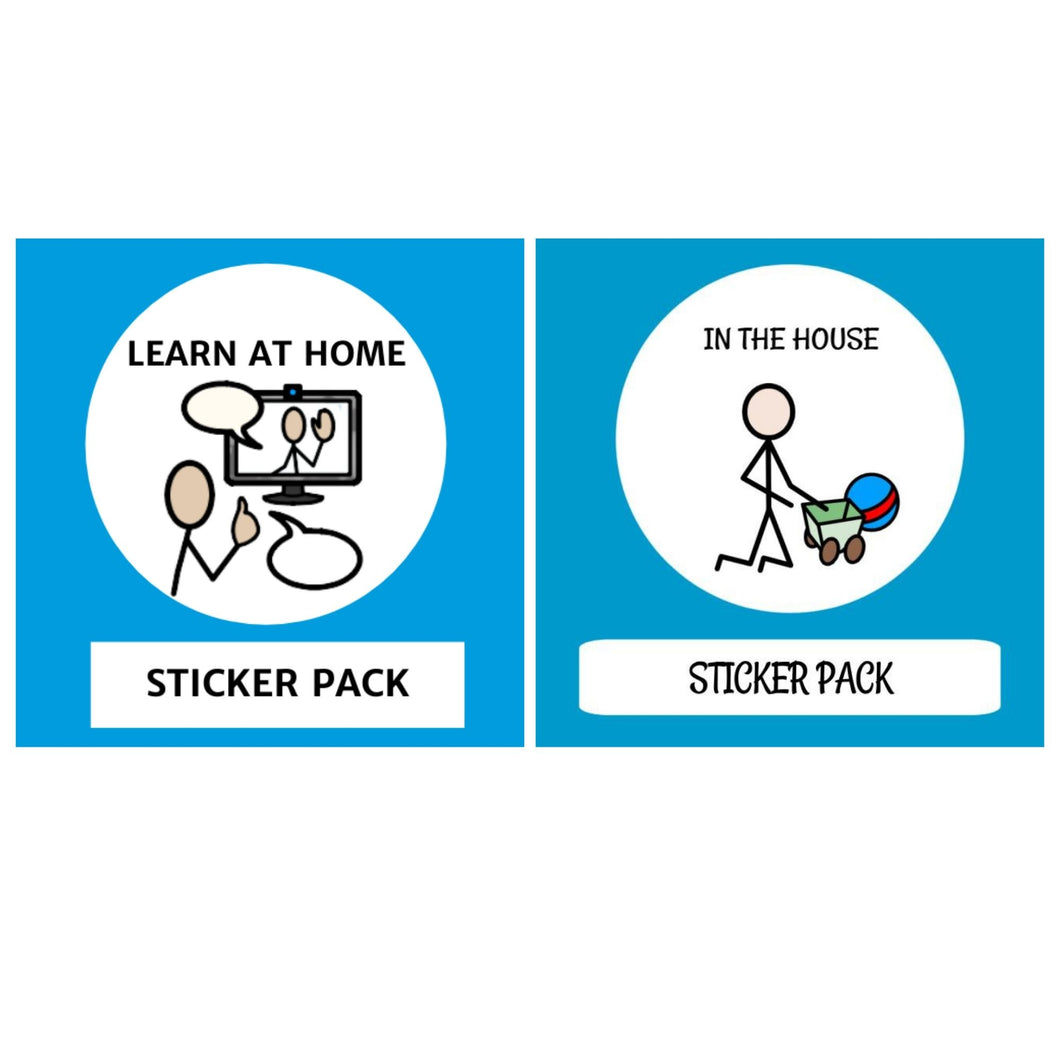 TomTag Dual Sticker pack Learn at Home & In The House Sticker pack for Tomtag collection, Learning Resource, for disabled children.
