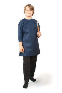 Boy wearing waterproof PVC overall, Protective Bib,, for disabled children.