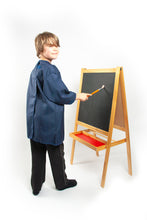 Load image into Gallery viewer, Rear view of Boy wearing waterproof PVC overall, Protective Bib, for disabled children.