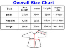 Waterproof PVC Overalls measuring guide, Protective Bib, for disabled children.
