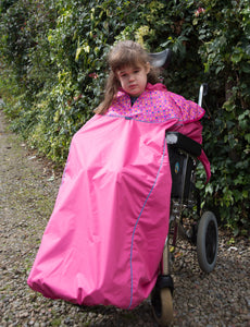 Waterproof Wheelchair Total Cover - Pink Spot, wheelchair clothing, for disabled children.