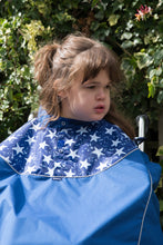 Load image into Gallery viewer, Waterproof Wheelchair Total Cover - Royal Blue and White Stars, wheelchair clothing, for disabled children.