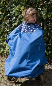 Waterproof Wheelchair Total Cover - Royal Blue and White Stars, wheelchair clothing, for disabled children.