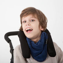 Load image into Gallery viewer, Boy Wearing Navy Mum 2 Mum Adult Bandana Bib, Protective Bib, For Disabled Adults.