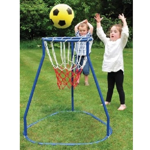 Boy and girl playing with Basketball Stand, motor and cognitive skills, for children with disabilities.