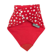Load image into Gallery viewer, Cheeky Chompers Red Stars Neckerchew, Protective bib, for disabled children.