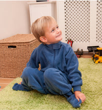 Load image into Gallery viewer, Little boy sat in All-In-One pyjama, Blue Fleece, Protective clothing, for disabled children.