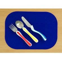 Load image into Gallery viewer, Blue Dycem Mealtime Placemat, eating, for disabled children.