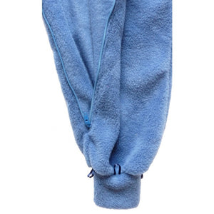 Leg and Zip view, All-In-One pyjama, Blue Fleece, Protective clothing, for disabled children.