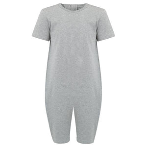Kaycey Supersoft Secret Back Zip Jumpsuit - Short Sleeved, Grey Marl, Protective Clothing, for disabled Children