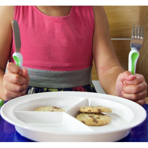 Gripware Partitioned Scoop Dish, eating, for disabled children.