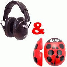 Load image into Gallery viewer, Ladybird click on cap and plain black ear defenders,  care & safety, for disabled children.