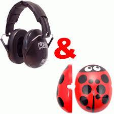 Ladybird click on cap and plain black ear defenders,  care & safety, for disabled children.