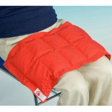 Red Weighted Lap Pad, sensory integration, for disabled children.