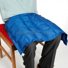 Blue Weighted Lap Pad, sensory integration, for disabled children.