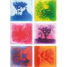 Orange/Red, Green/Yellow, Red/White, Purple/Pink, Pink/Yellow, Blue/White Liquid Floor Tile - Large, sensory integration, for children with disabilities.