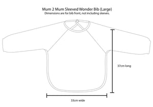 Size information guide Mum 2 Mum Full Upper Body Wonder Bib in Cerise Pink, Protective Bib, For Disabled Children.