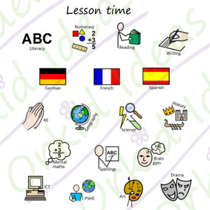 School Timetable Sticker pack for Tomtag collection, Learning Resource, for disabled children.