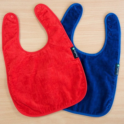 Red and Navy Classic Wonder Bib, Protective bib, for disabled children.