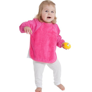 Girl wearing cerise pink Full Upper Body Wonder Bib, Protective bib, for disabled children.