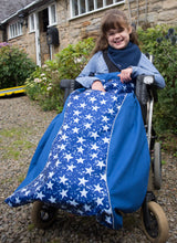 Load image into Gallery viewer, Waterproof Wheelchair Leg Cover - Royal Blue and White Stars, wheelchair clothing, for disabled children.