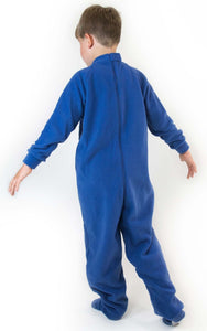 Boy stood with his back to you showing the blue fleece All-In-One Pyjamas, Protective clothing, for disabled children.