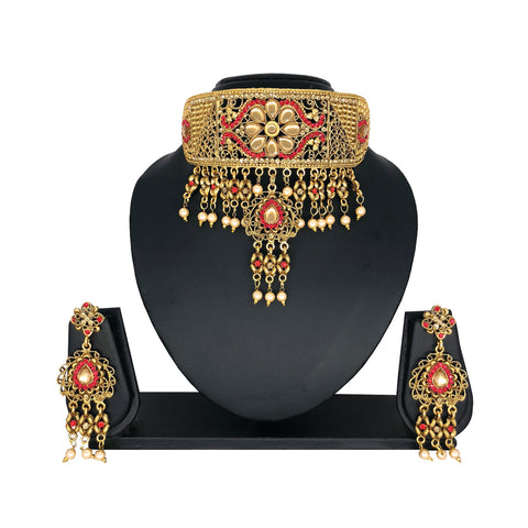 Alloy Gold Choker Set with Red Stones - HVIJS0043
