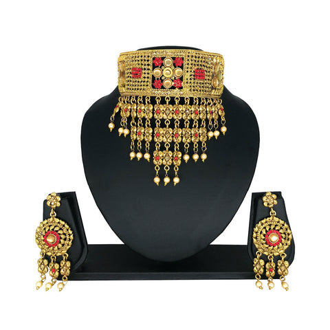 Alloy Gold Choker Set with Red Stones - HVIJS0045