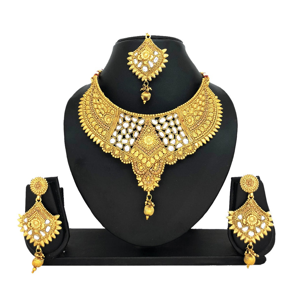 Kundan Gold Jewelry Set - HVIJS0003