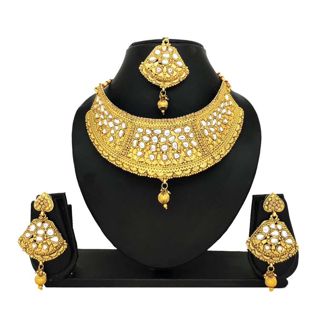 Kundan Gold Jewelry Set - HVIJS0012
