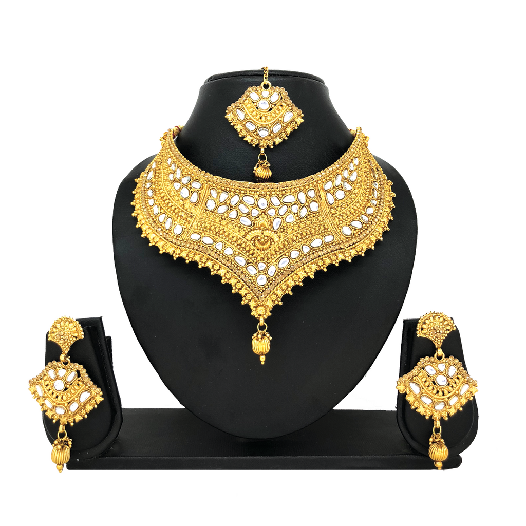 Kundan Gold Jewelry Set - HVIJS0028