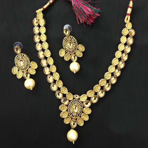 Exclusive Kundan Gold Jewelry Set - HVIJS0054