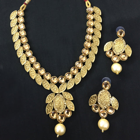 Exclusive Kundan Gold Jewelry Set - HVIJS0055