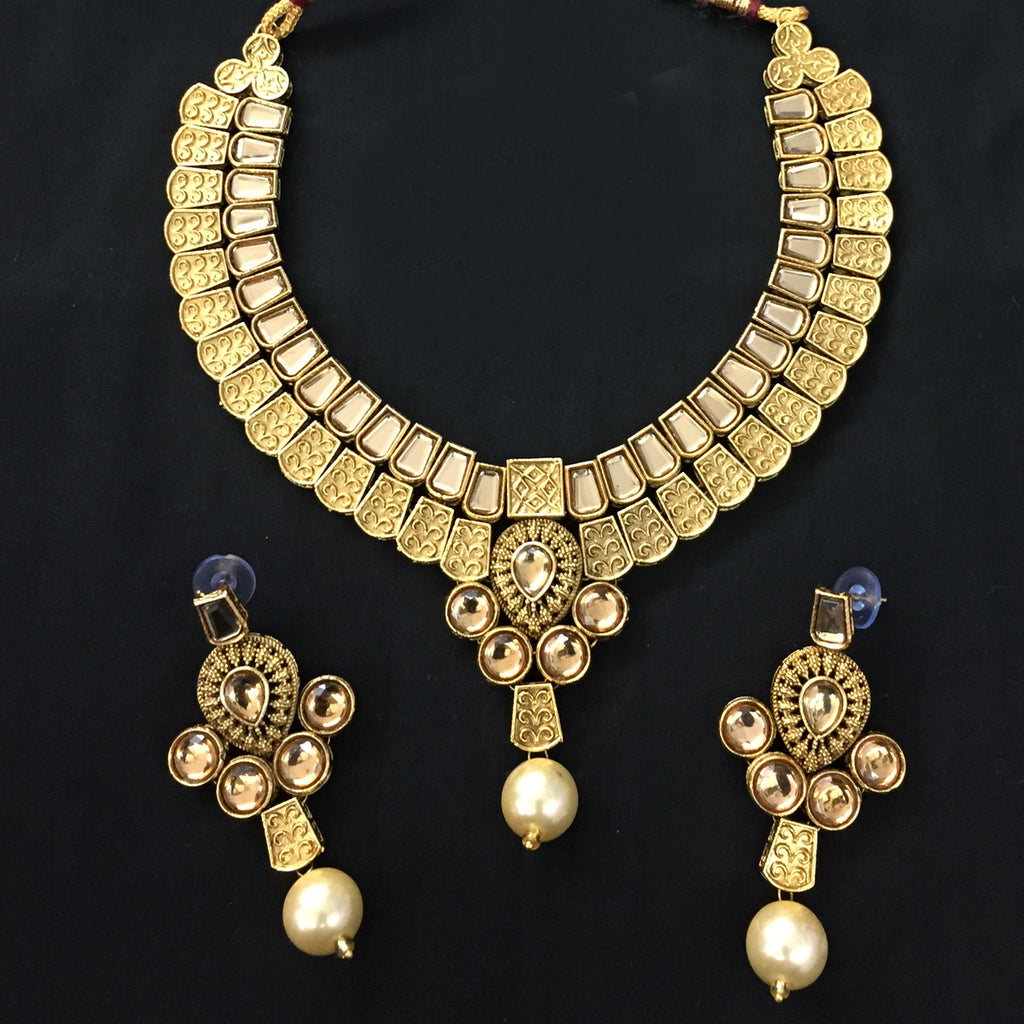 Exclusive Kundan Gold Jewelry Set - HVIJS0056