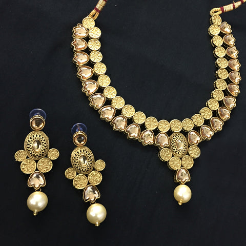 Exclusive Kundan Gold Jewelry Set - HVIJS0057